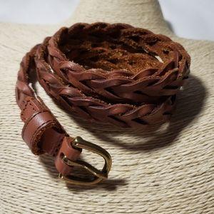 Accessories - Vintage Leather Braided Skinny Belt Sz Sm/Medium